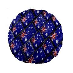 Australian Flag Urban Grunge Pattern Standard 15  Premium Round Cushions
