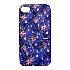 Australian Flag Urban Grunge Pattern Apple iPhone 4/4S Hardshell Case with Stand