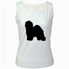 Old English Sheepdog Silo Black Women s White Tank Top