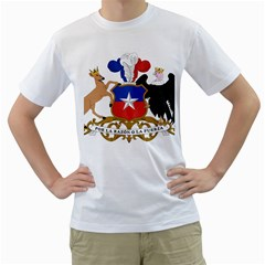 Coat of Arms of Chile Men s T-Shirt (White) (Two Sided)
