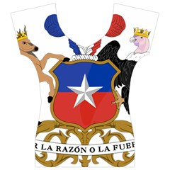 Coat of Arms of Chile Women s V-Neck Cap Sleeve Top