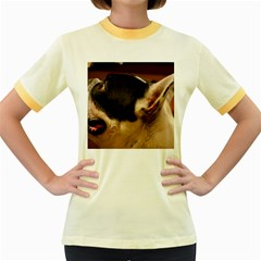 French Bulldog black white Women s Fitted Ringer T-Shirts