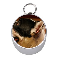 French Bulldog black white Mini Silver Compasses