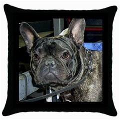 French Bulldog Brindle Throw Pillow Case (Black)