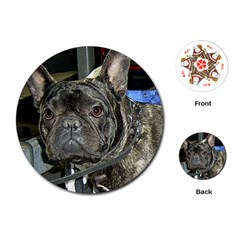 French Bulldog Brindle Playing Cards (Round)