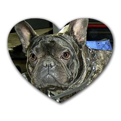 French Bulldog Brindle Heart Mousepads