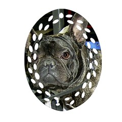 French Bulldog Brindle Oval Filigree Ornament (Two Sides)