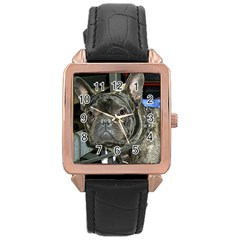 French Bulldog Brindle Rose Gold Leather Watch