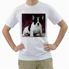 Brindle Pied French Bulldog Puppy Men s T-Shirt (White) (Two Sided)