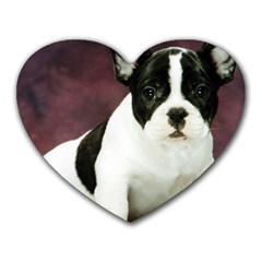 Brindle Pied French Bulldog Puppy Heart Mousepads