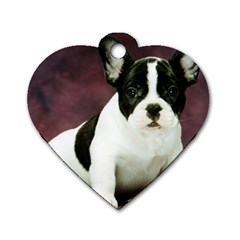 Brindle Pied French Bulldog Puppy Dog Tag Heart (One Side)