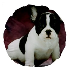 Brindle Pied French Bulldog Puppy Large 18  Premium Round Cushions