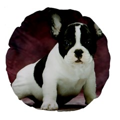 Brindle Pied French Bulldog Puppy Large 18  Premium Flano Round Cushions