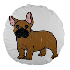 French Bulldog Tan Cartoon Large 18  Premium Round Cushions