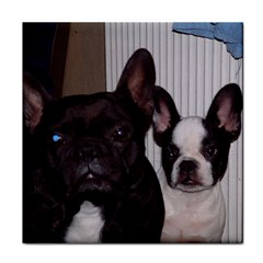 2 French Bulldogs Tile Coasters