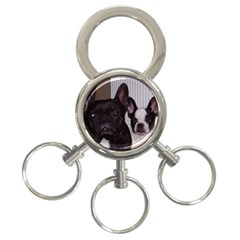 2 French Bulldogs 3-Ring Key Chains