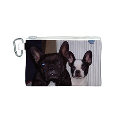 2 French Bulldogs Canvas Cosmetic Bag (S)