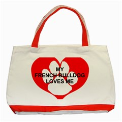 My French Bulldog Loves Me Classic Tote Bag (Red)