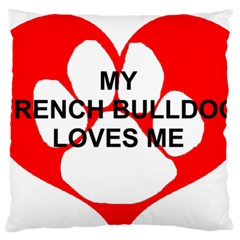 My French Bulldog Loves Me Standard Flano Cushion Case (Two Sides)