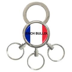 French Bulldog France Flag 3-Ring Key Chains