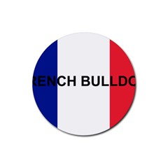 French Bulldog France Flag Rubber Coaster (Round)