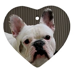 French Bulldog White Ornament (Heart)