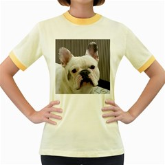 French Bulldog White Women s Fitted Ringer T-Shirts