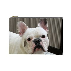French Bulldog White Cosmetic Bag (Large)