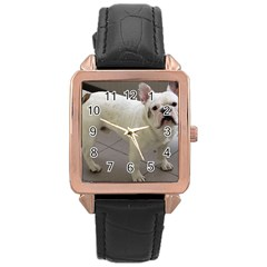 French Bulldog Full Rose Gold Leather Watch