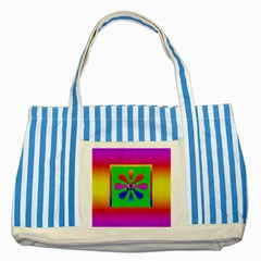 Flower Mosaic Striped Blue Tote Bag