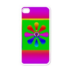 Flower Mosaic Apple iPhone 4 Case (White)