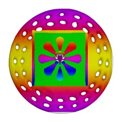Flower Mosaic Round Filigree Ornament (Two Sides)