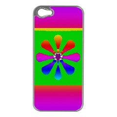 Flower Mosaic Apple iPhone 5 Case (Silver)