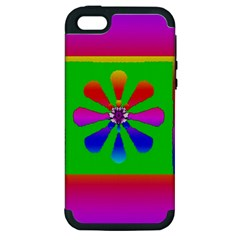 Flower Mosaic Apple iPhone 5 Hardshell Case (PC+Silicone)