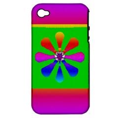 Flower Mosaic Apple iPhone 4/4S Hardshell Case (PC+Silicone)