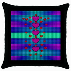 Hearts Weave Throw Pillow Case (black)