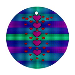 Hearts Weave Round Ornament (Two Sides)