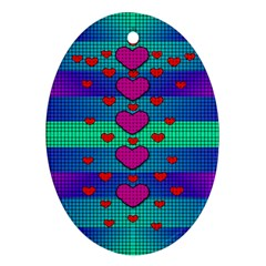 Hearts Weave Oval Ornament (two Sides)