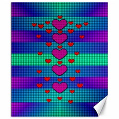 Hearts Weave Canvas 8  x 10
