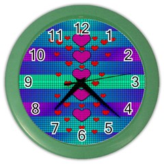 Hearts Weave Color Wall Clocks