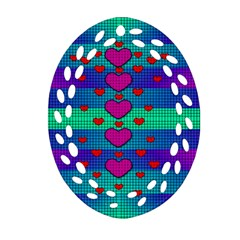 Hearts Weave Oval Filigree Ornament (Two Sides)