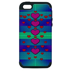Hearts Weave Apple iPhone 5 Hardshell Case (PC+Silicone)