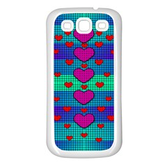 Hearts Weave Samsung Galaxy S3 Back Case (White)