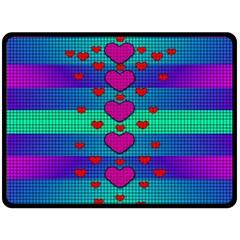 Hearts Weave Double Sided Fleece Blanket (Large)