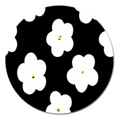 April Fun Pop Floral Flower Black White Yellow Rose Magnet 5  (Round)