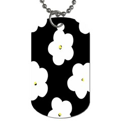 April Fun Pop Floral Flower Black White Yellow Rose Dog Tag (One Side)