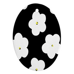 April Fun Pop Floral Flower Black White Yellow Rose Oval Ornament (Two Sides)