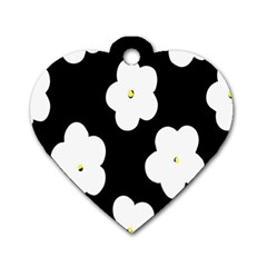 April Fun Pop Floral Flower Black White Yellow Rose Dog Tag Heart (Two Sides)