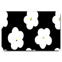 April Fun Pop Floral Flower Black White Yellow Rose Large Doormat