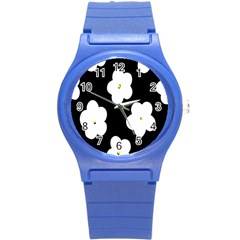 April Fun Pop Floral Flower Black White Yellow Rose Round Plastic Sport Watch (S)